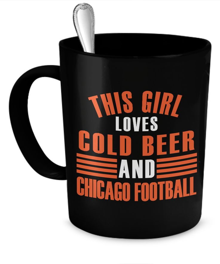 This Girl Loves Cold Beer and Chicago Football  #gift#chicago #football $19.95