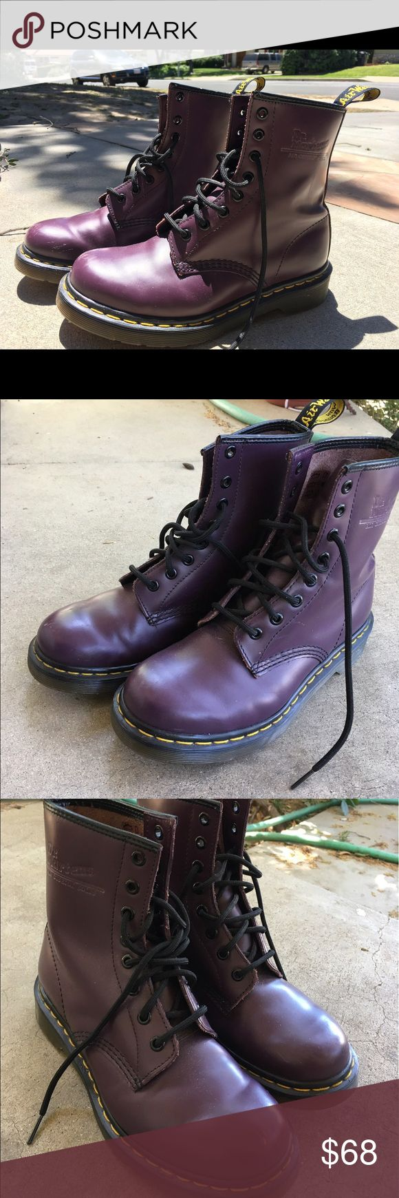 Purple Doc Martens I've had them for years and have maybe worn them 3 times. They're basically brand new except a baby scuff on the front, figured I'd sell them since they just sit in my closet. Dr. Martens Shoes Combat & Moto Boots