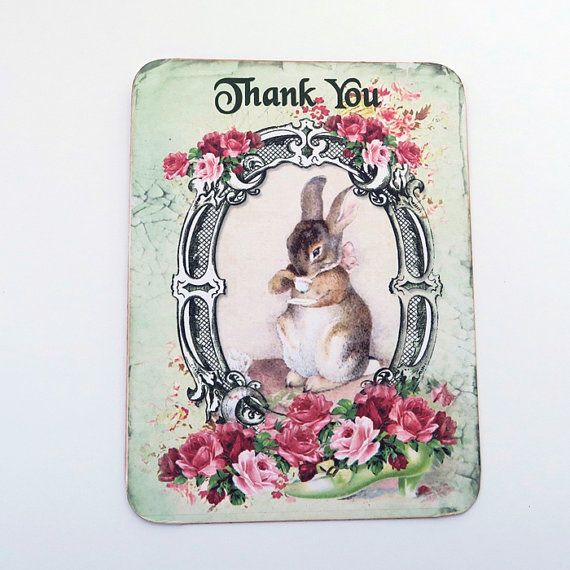 Rabbit Thank You Note Cards Blank Note by EnchantedQuilling