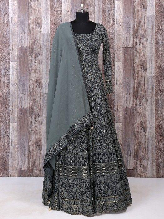 0c7eef9c4b17 Net Fabric Grey Color Anarkali Suit