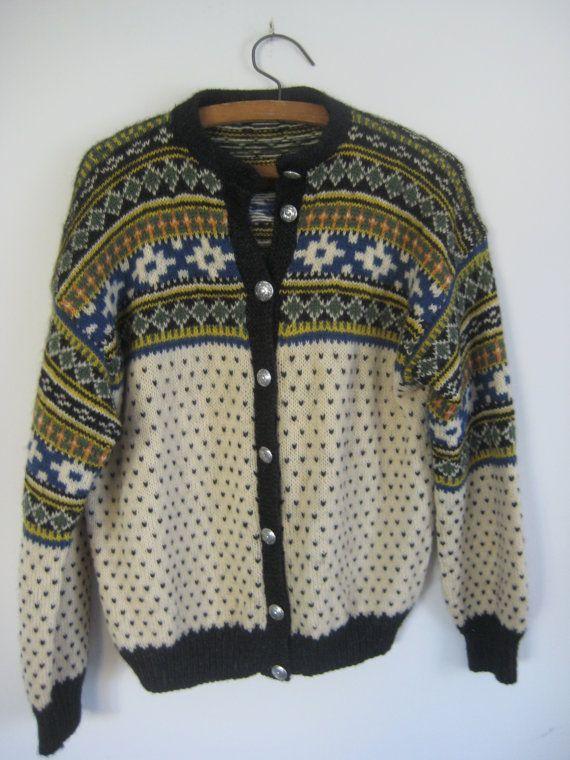 Beautiful Vintage Scandinavian Sweater / Multi Color / Patterned Sweater / Wool Sweater / Wool Cardigan