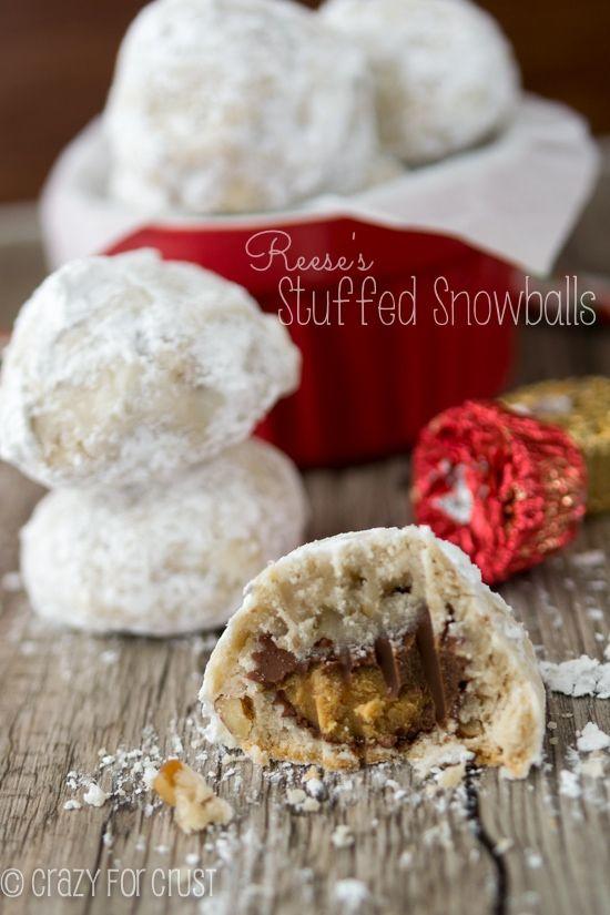 Reese's Stuffed Snowballs | crazyforcrust.com