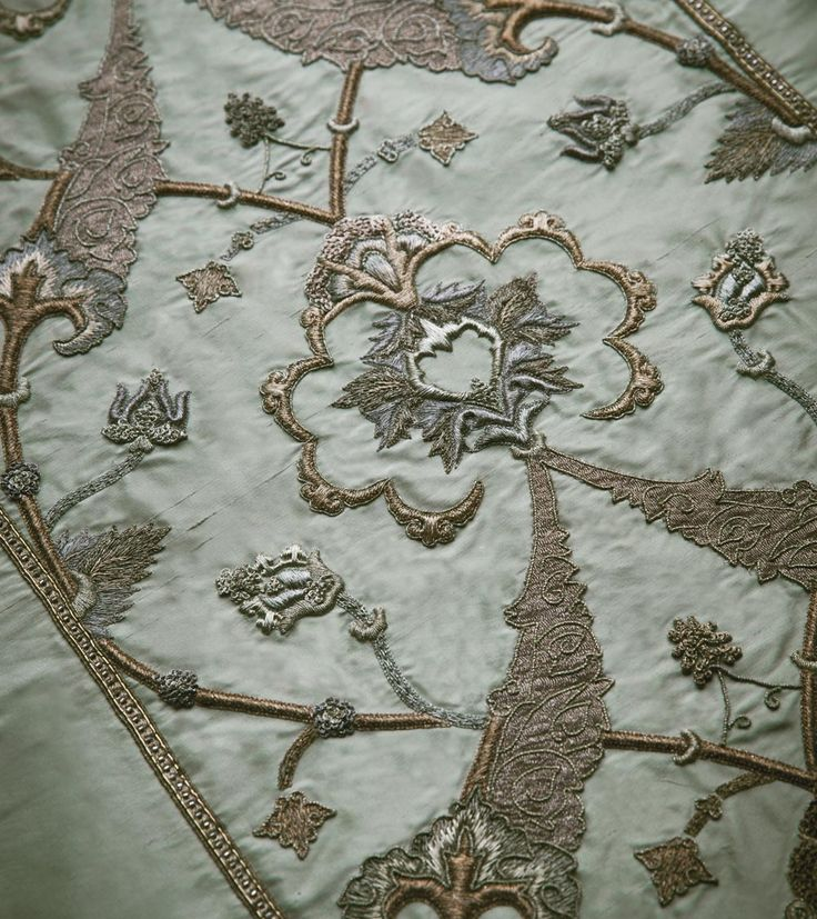 Darius is an ottoman inspired scrolling tapestry of richly worked embroidery and intricate details.
