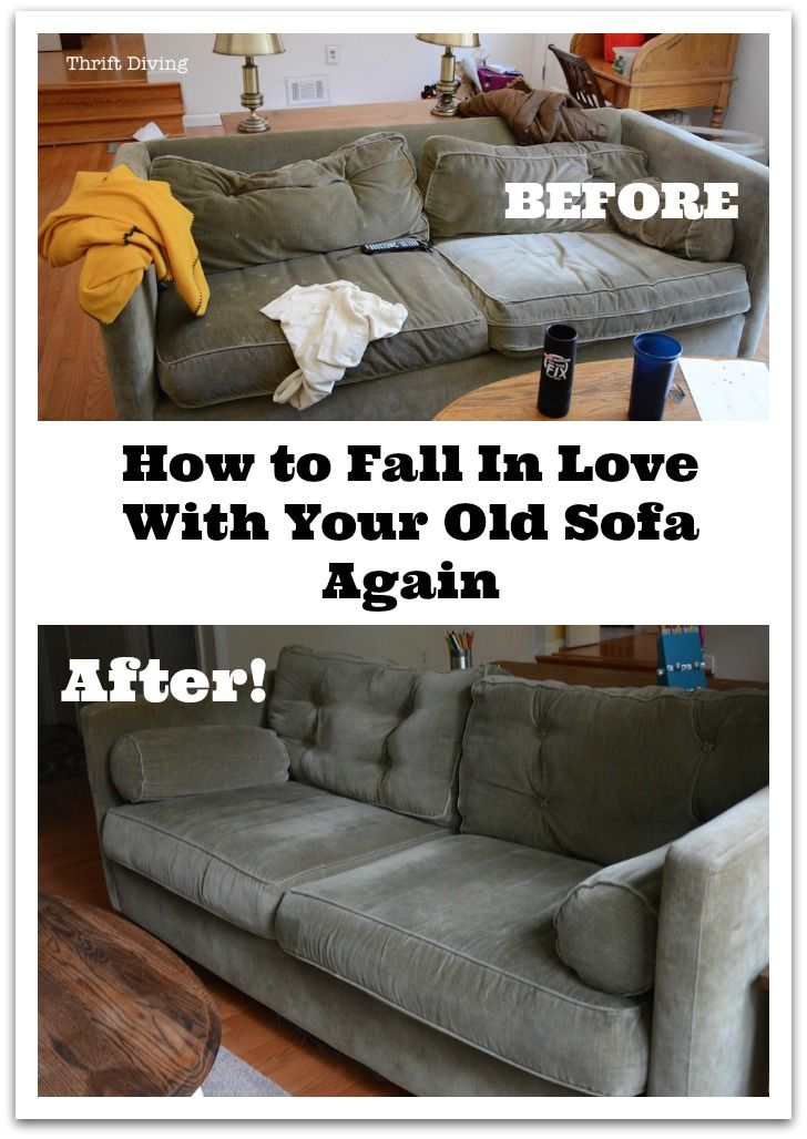 Is your sofa all sunken in with smushed pillows? Fight the desire to go and buy a new one by sprucing up your old one! Here's how you can do it.