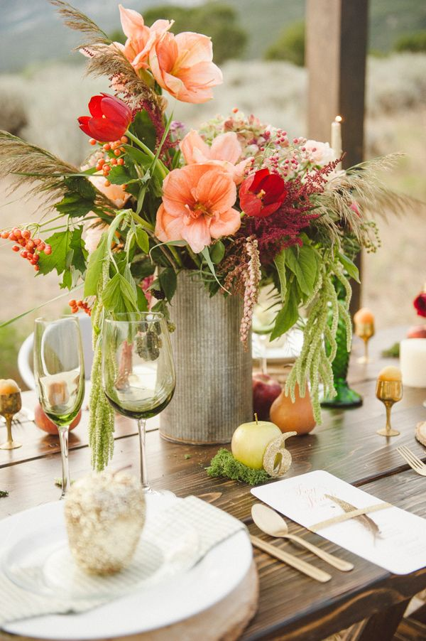 Glittery Thanksgiving Wedding Ideas by Branches Event Floral (Event Design + Flowers) + Jessica White Photography - via ruffled