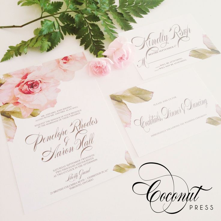 Pink Floral Invitations - Rustic Garden Wedding, Outdoor Wedding, Spring/Summer Wedding - Invitations & Design by Coconut Press