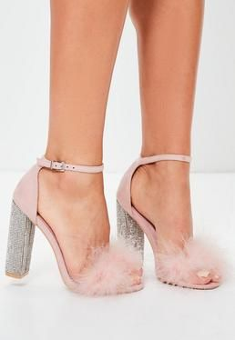 Pink Glitter And Feather Block Heel Sandals