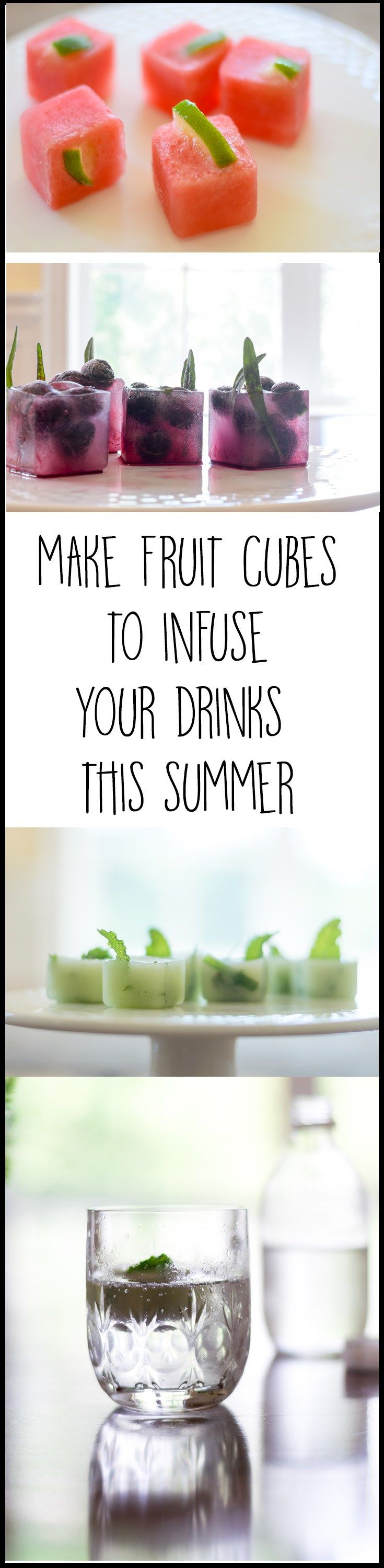 Fruit Infused Ice Cubes are the perfect way to add flavor to your water or favorite beverages this summer. Cucumber/Mint, Watermelon/Lime and Blueberry/Lavender are delicious combinations and make getting that daily water quota all the more enjoyable.