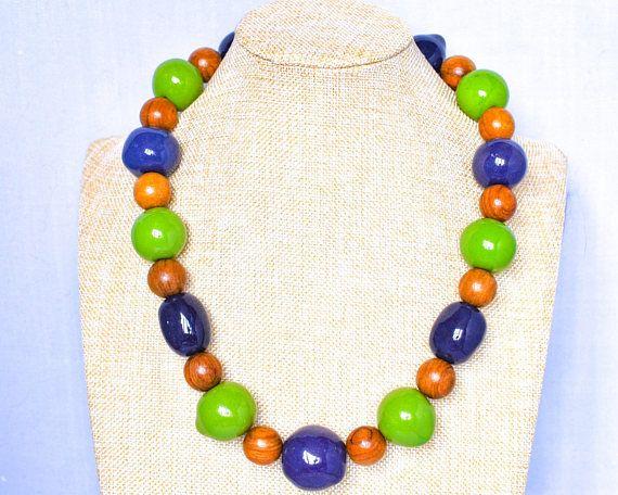 Kazuri Bead Purple Necklace - Lime Green Necklace - Fair Trade Wood Necklace - Purple and Green Kazuri Necklace - Ethical Necklace thecoastaldesert The Coastal Desert handmade jewellery jewelry