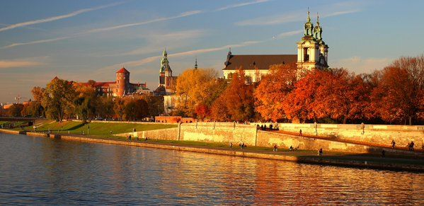 Autumn in Krakow, Poland. Wawel Castle view. Vistula river. Beatuful light and colors.