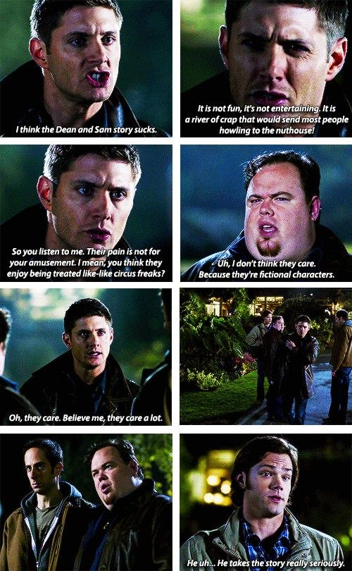 """[SET OF GIFS] """"I'm not Bobby, ok? You're not Sam. You're not Dean. What is wrong with you? Why in the hell would you choose to be these guys?"""" 5x09 The Real Ghostbusters"""