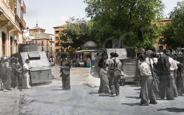Guardias de asalto protegiéndose en un carro auto-ametralladora Mod.Bilbao 1932 en Zocodover, Toledo