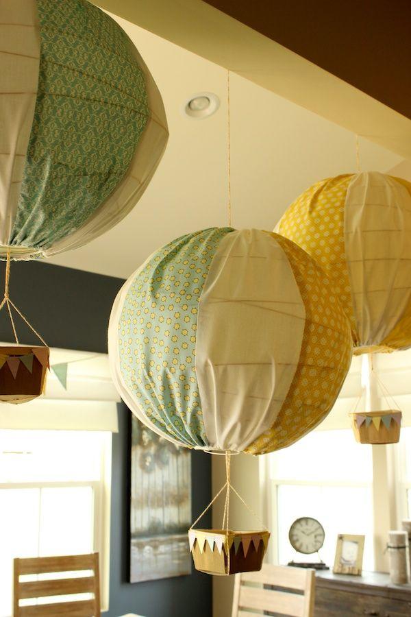 Hot Air Balloon - ikea paper lamp shade, fabric, string & paper