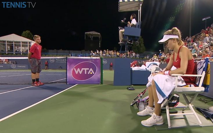 Genie Bouchard grabs 1st set TB 7-2 off Kateryna Bondarenko in Cincy. (via TennisTV)