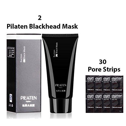 New Blackhead Remover Kit Featuring TWO Pilaten Blackheads Remover Mask Plus THIRTY Pore Strips For Nose and TZone Great Peel Off Facial Masks for Blackheads Whiteheads Pimples and Acne Control *** To view further for this item, visit the image link.