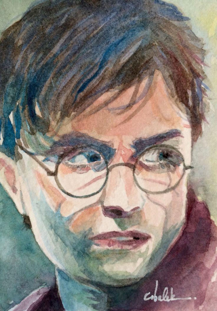 Tiny Harry Potter watercolour portrait 2.5 x 3.5 inches