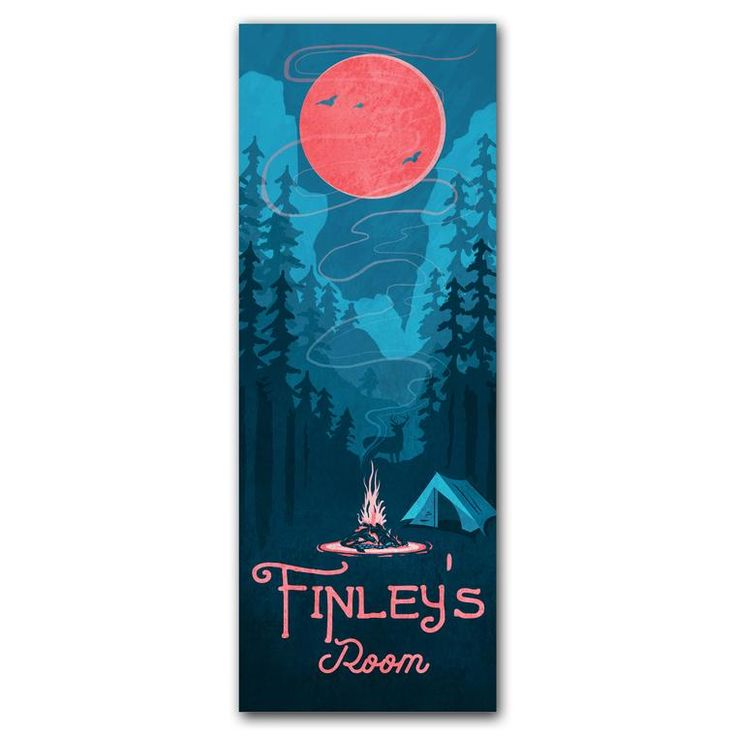 Personalized kids camping decor with blue mountains pink moon and a name at the