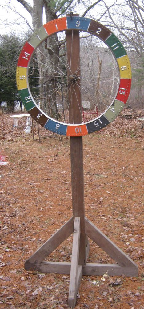 Vintage spinning carnival game, from a bike wheel.
