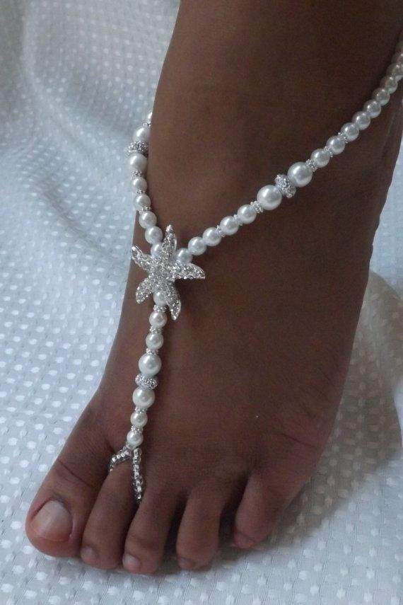 This barefoot sandals was made with Jewelry elastic, Czech glass pearls, rhinestone beads, silver spacers, Czech silver lined glass beads and