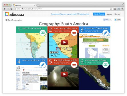 Edcanvas....Wow! For teachers - easiest way to create online resource hot list for your students. For students - what a great way to organize and share! Take a look.