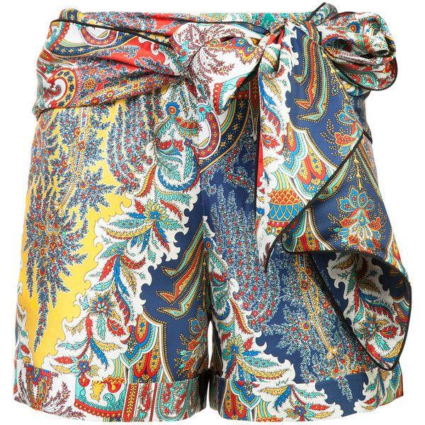 Oscar De La Renta Tie Up Printed Short ($1,408) ❤ liked on Polyvore featuring shorts, silk shorts, tie-dye shorts, short shorts, multi colored shorts and colorful shorts