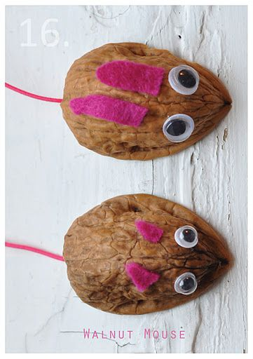 easy walnut mice: Christmas Crafts, Walnut Shells, Walnut Crafts For Kids, Advent Calendar, Walnut Mouse, Walnut Mice, Craft Ideas, Calendar Craft