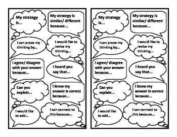 Using talk moves in a math classroom help create a positive collaborative atmosphere. Teach these sentence starters at the beginning of the year and watch the incredible conversations that will take place!  These talk moves print two per page (saves copies) and are great to cut out and glue in an interactive math journal.