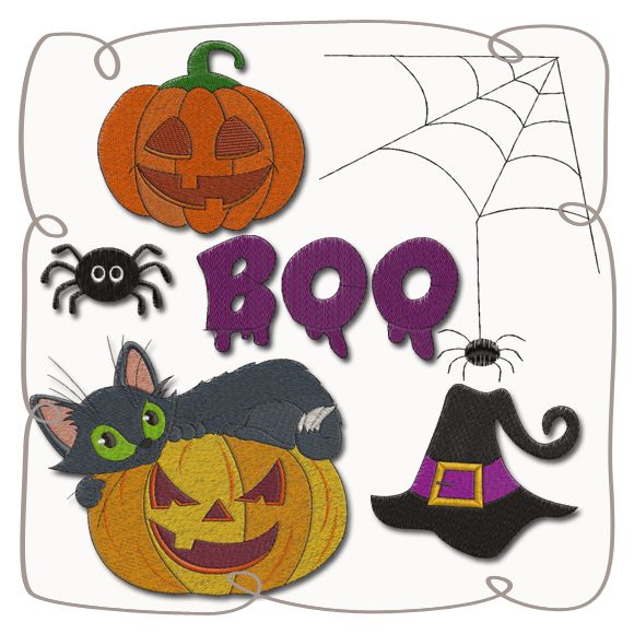 Halloween Set Machine Embroidery Design Pattern-INSTANT DOWNLOAD