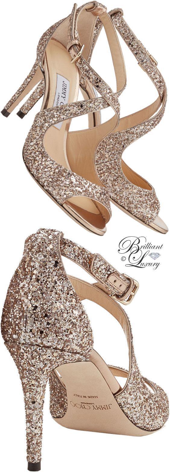 Brilliant Luxury ♦ Jimmy Choo Emily Ballet Pink Shadow Coarse Glitter Fabric Sandals #jimmychooheelspink