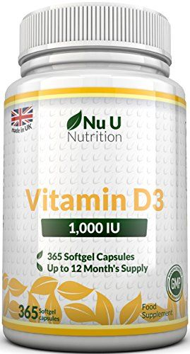 The Product Vitamin D3 365 Softgels (Full Year Supply) 1000IU Vitamin D3 Supplement, High Absorption Cholecalciferol Vitamin D 3 (Vitamin D3 softgels easier to swallow than Vitamin D tablets) by Nu U Nutrition  Can Be Found At - http://vitamins-minerals-supplements.co.uk/product/vitamin-d3-365-softgels-full-year-supply-1000iu-vitamin-d3-supplement-high-absorption-cholecalciferol-vitamin-d-3-vitamin-d3-softgels-easier-to-swallow-than-vitamin-d-tablets-by-nu-u-nutrition/