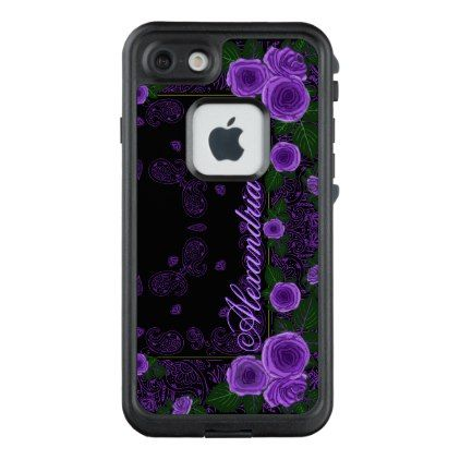 Raspberry Roses & Paisley Bandana Name Template LifeProof FRĒ iPhone 7 Case - rose style gifts diy customize special roses flowers