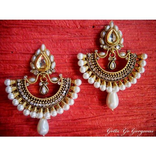 Ram Leela Inspired Royal Polki Earrings - White