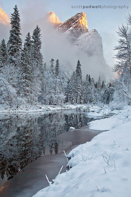 Winter on the Merced by Scott Pudwell, via Flickr; Yosemite National Park, California