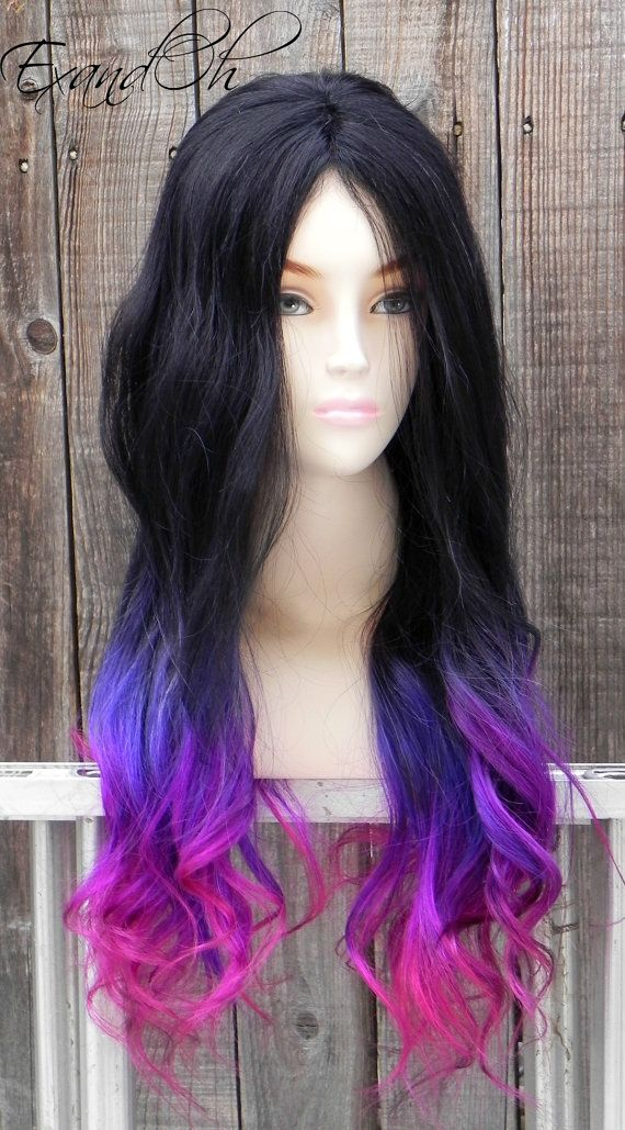 Black Purple Pink Ombre Remy Human Hair 250 300g By