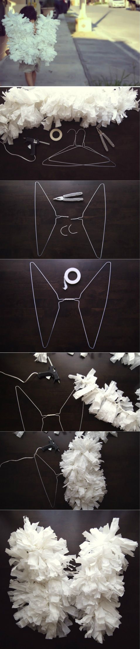 DIY angel wings using crepe paper and hangers - Cómo hacer alitas de ángel con papel crepé y ganchos.... could work as a Halloween Costume DIY: Angel