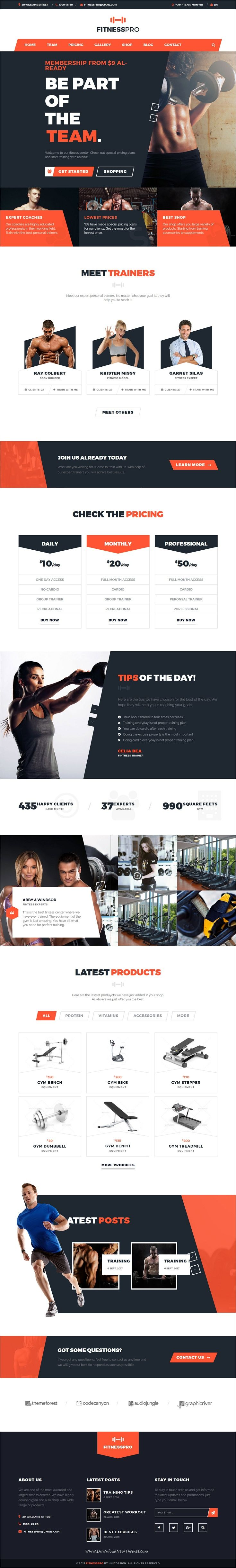FitnessPro is a wonderful responsive #HTML #bootstrap template for #gym and #fitness centers website download now➩ https://themeforest.net/item/fitnesspro-html-template/19613210?ref=Datasata