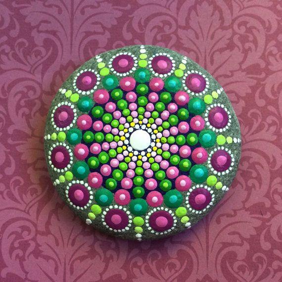 Jewel Drop Mandala Painted Stone- sea urchin cherry blossom love