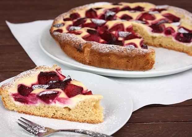 Slivkový koláč s tvarohom - recept