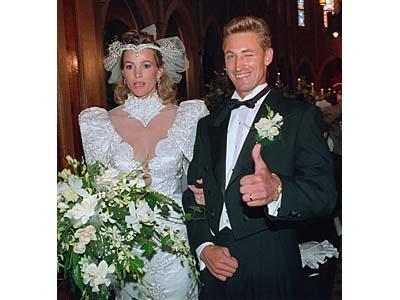 Wayne Gretzky and his wife, Janet Jones, leave St. Joseph's Basilica in Edmonton on July 16, 1988.