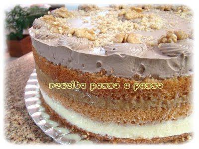 Receita passo a passo: Bolo de Nozes com Doce de Leite e Baba de Moça / Walnut Cake with Dulce de Leche (Milk Caramel) and Coconut Cream