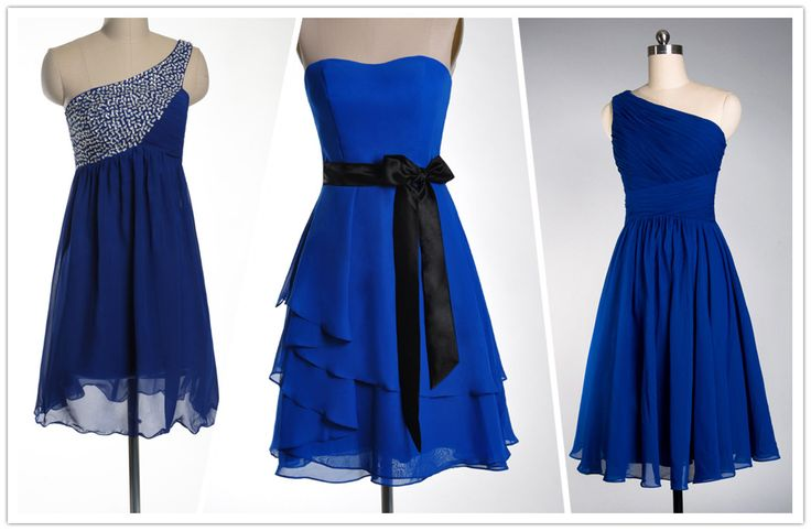 vestiti corti cobalto semplice per testimone di nozze