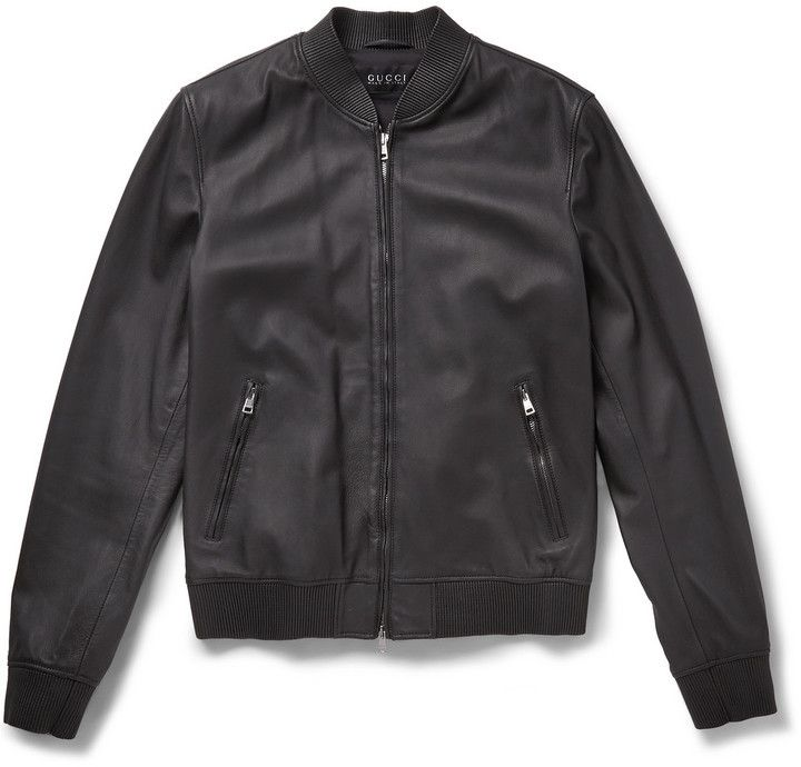 $3,650, Black Leather Bomber Jacket: Gucci Leather Bomber Jacket. Sold by MR PORTER. Click for more info: https://lookastic.com/men/shop_items/287240/redirect