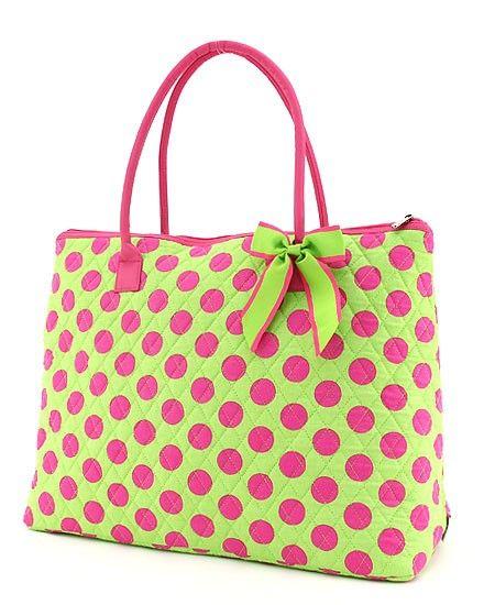 Green Polka Dots   Hot Pink with Lime Green Polka Dots XL Purse or Overnight Bag - $24.99 ...