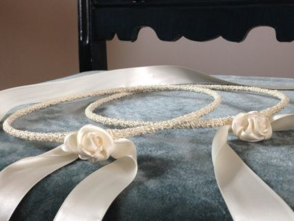 ivory stefana with  handmade satin roses  designed and created by dahlia  Orthodox wedding crowns stephana for the Greek Orthodox marriage sacrament