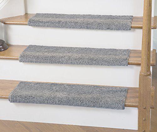 Caprice Light Gray Bullnose Carpet Stair Tread With Adhesive Padding   31