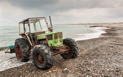 Scarica sfondi mare del nord, trattore, spiaggia, denmark