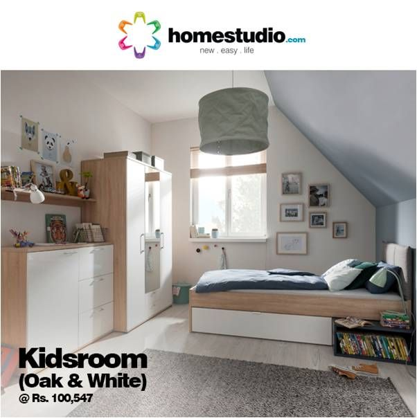 This Kids room features: Side board , Hinged wardrobe with mirror and a large Single bed with under bed storage. All co ordinated in oak and white finish. Fits beautifully into any space without looking cramped.#Homestudio #KidsRoomSolution #KidsRoomFurniture