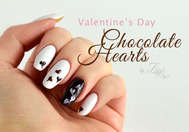 ZigiZtyle: Valentine's Day Nails - Chocolate Hearts / Ystävänpäiväkynnet