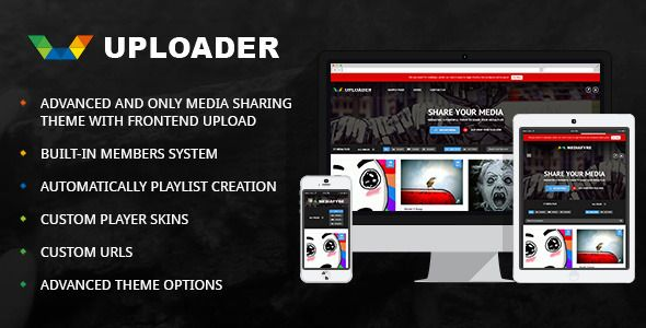 uploader theme has built in members system which includes Ajax based frontend, login, sign up ,password recovery change password pages.