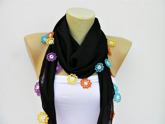 Turkish oya scarfhand crocheted lace scarf/ ethnik / door SenaShop, 23,90